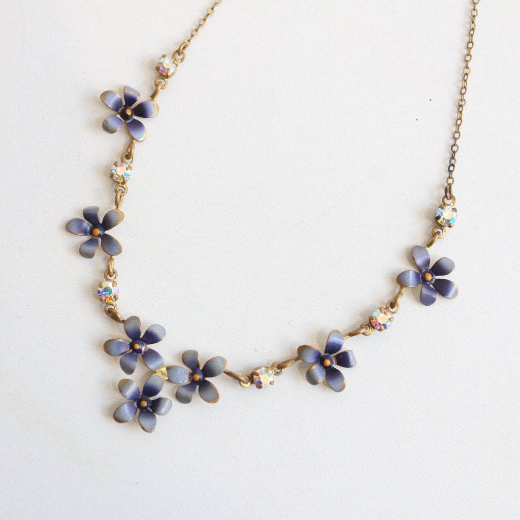 Vintage 1950's necklace vintage 1950's violet floral necklace rhinestone floral painted necklace lilac floral painted enamel necklace show