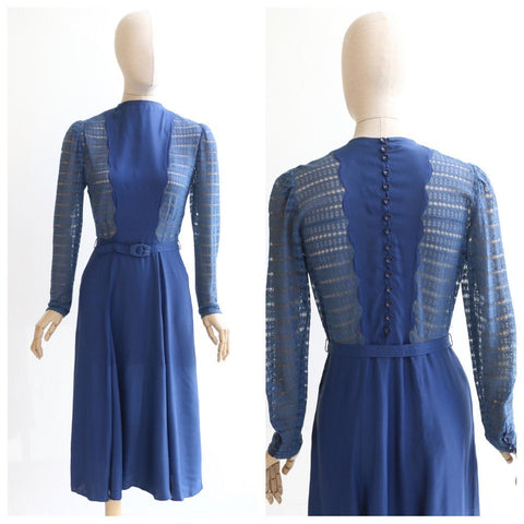Vintage 1940's dress vintage 1940's lace dress original 1940's rayon lace scalloped dress forties fashion original 1940's blue lace UK 10-12