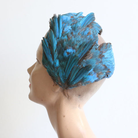Vintage 1940's hat vintage 1940's couture hat original 1940's Leyna Beauvilain couture hat feather split bandeau hat rare feather hat 1940
