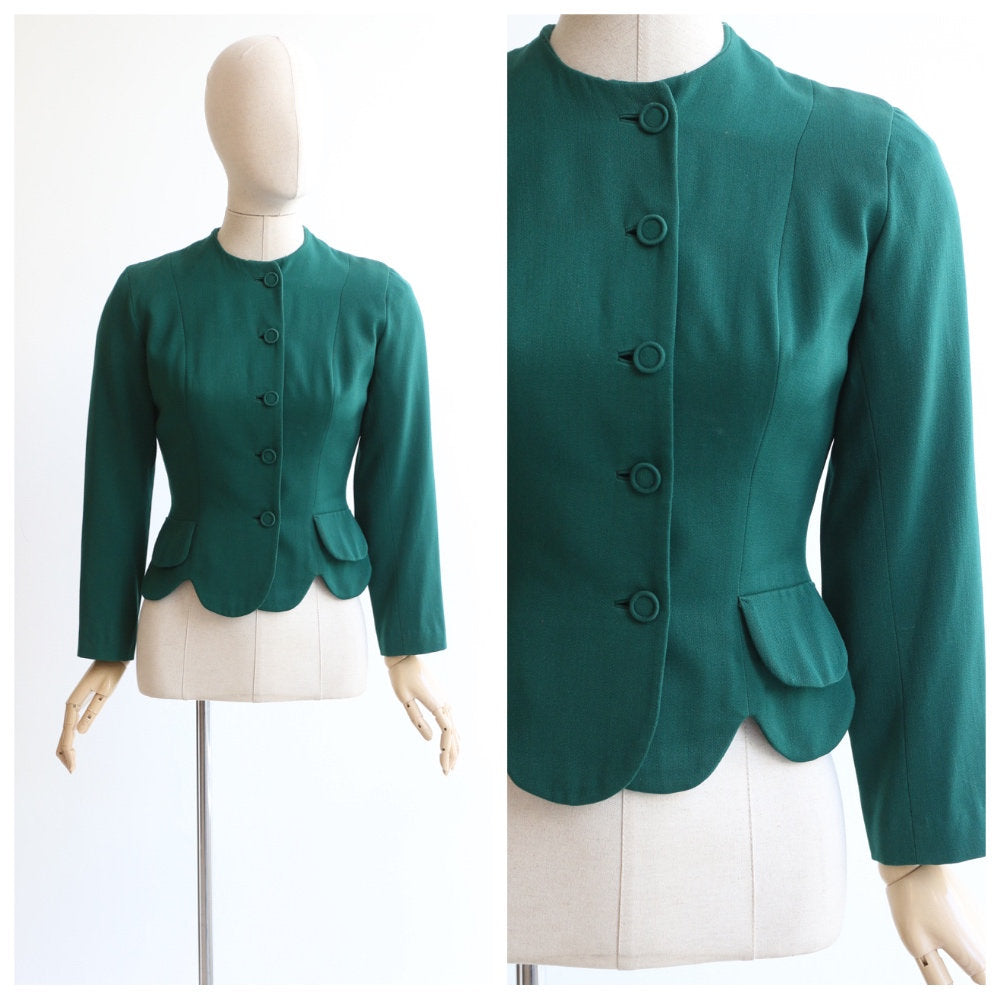 Vintage 1940's jacket original 1940's green jacket 1940's scalloped bottle green fitted jacket 40's fashion 1940s green blazer UK 8