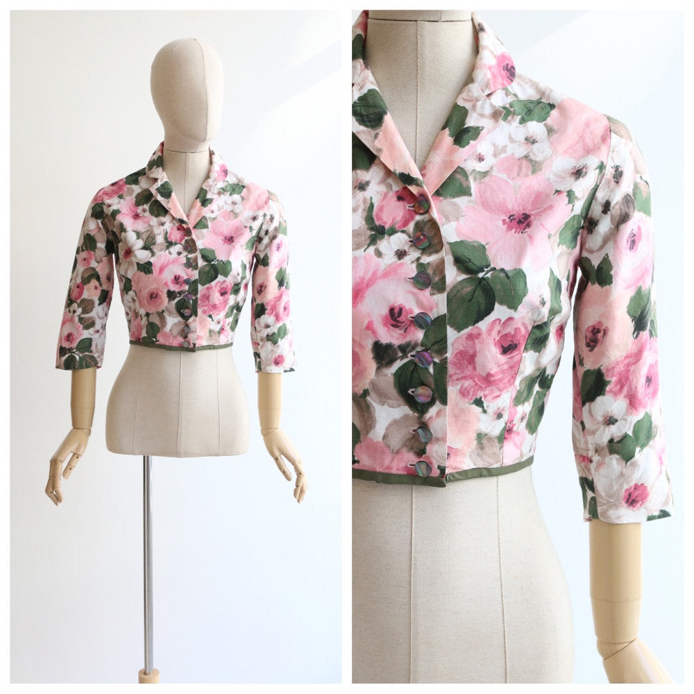 Vintage 1950's jacket vintage 1950's cropped jacket original fifties cropped floral jacket cotton short jacket fifties jacket UK 8-10