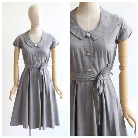 Vintage 1950's dress vintage 1950's cotton day dress original 1950's grey dress fifties grey day dress swing dress UK 6-8