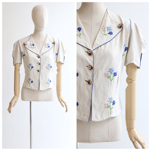 Vintage 1940's blouse vintage 1940's rare blouse original 1940's embroidered linen blouse forties linen blouse 1940 embroidered top UK 10-12
