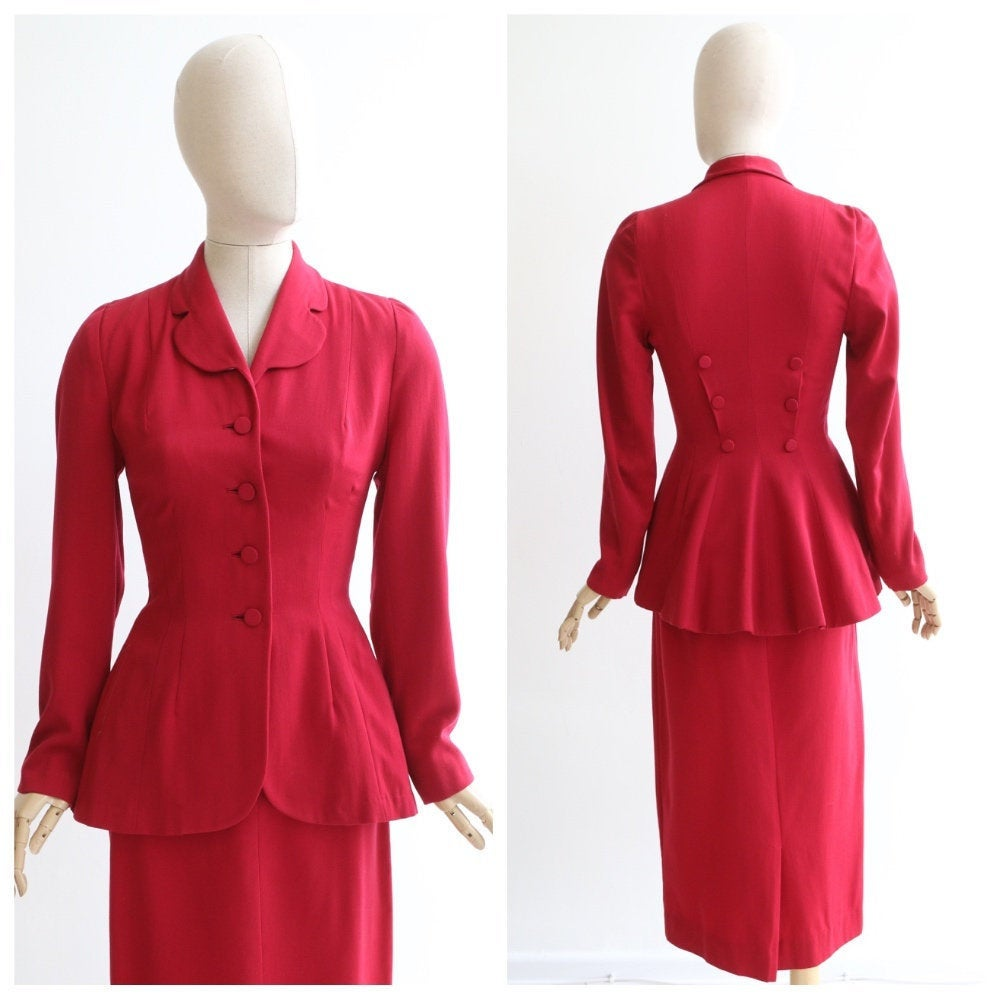 Vintage 1940's suit vintage 1940's red suit vintage 1940's red peplum suit original 1940s red fitted suit ridding suit 1940s skirt suit UK 8