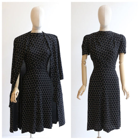 Vintage 1930's Dress and Jacket vintage 1930's dress longline jacket original 1930s dress polkadot black dress crepe silk painted UK 8-10