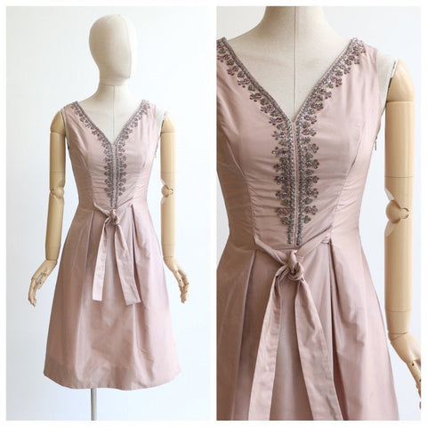 Vintage 1950's dress vintage 1950's champagne silk dress 1950's lilac beaded dress original 1950's silk cocktail dress sequins beads UK 8