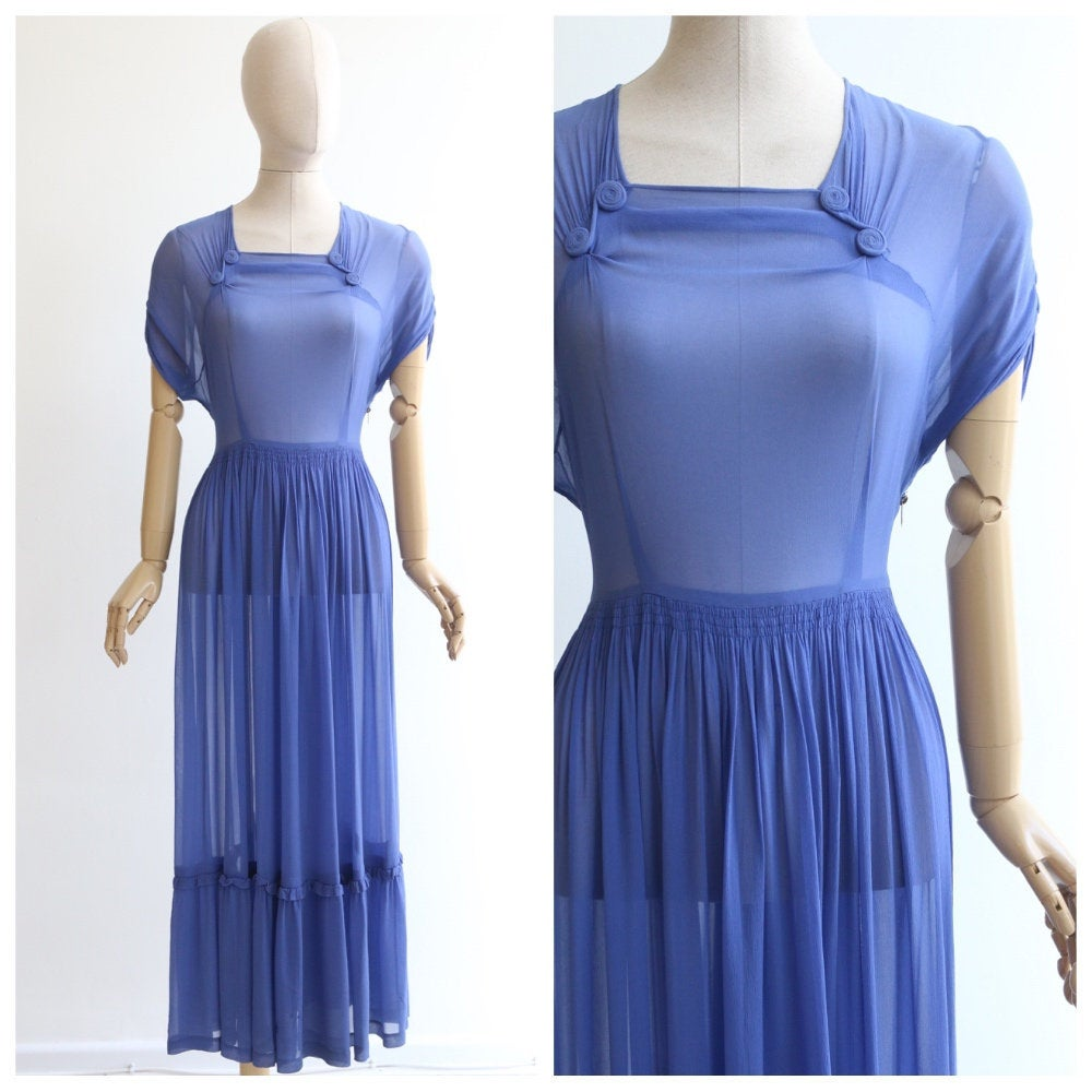 Vintage 1930's dress vintage 1930's silk chiffon dress 1930's cornflower blue silk dress original 1930's maxi dress 1930s dress UK 10-12