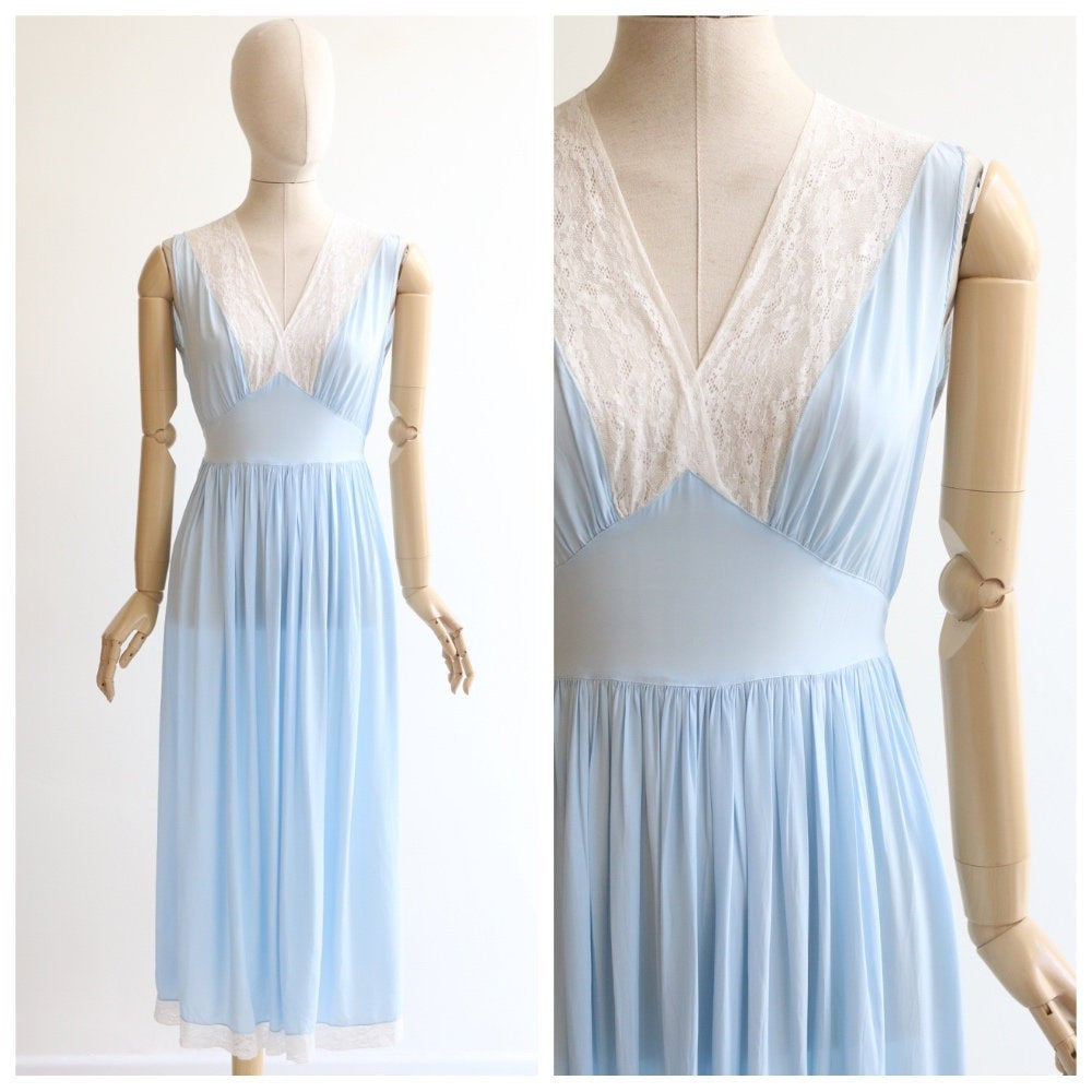 Vintage 1930's nightdress vintage 1930's silk and lace nightgown original 1930s pale blue silk and lace nightdress silk lingerie UK 10 12 14