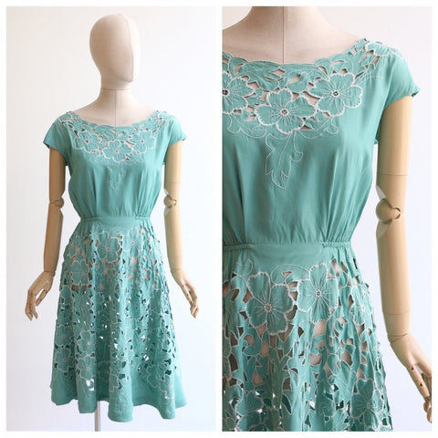 Vintage 1950's dress vintage 195's eau de nil cut out floral dress 1950's cut out floral embroidery dress 1950's embroidered dress UK 10-12
