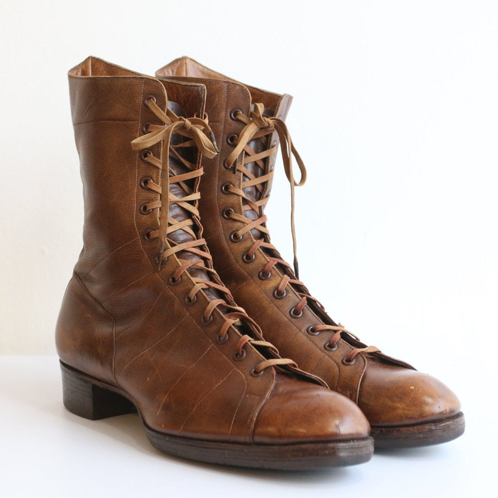 Vintage 1920's boots vintage 1920s lace up boots 1920s booties brown leather lace up boots original twenties broadway boots uk 6