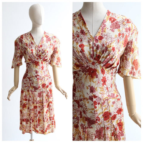 Vintage 1940's dress vintage 1940's floral dress original forties silk jersey floral dress 1940's autumnal floral dress original 1940s UK 12