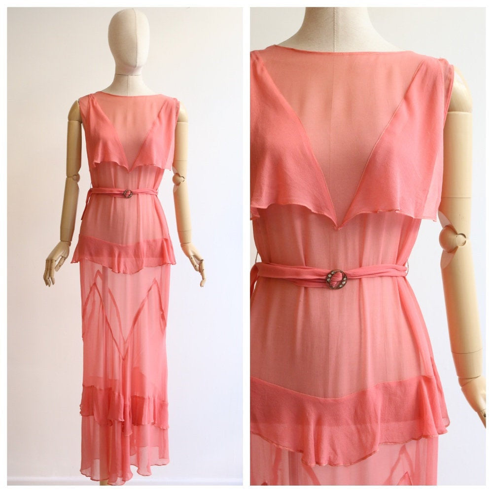 Vintage 1930's Silk chiffon dress vintage 1930's coral silk dress 1930 silk bias cut dress original 1930s sill coral pink tiered dress UK 10