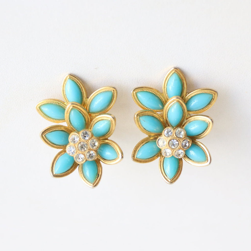 Vintage 1960's Christian Dior earrings vintage 1960's turquoise floral clip on earrings 1960's vintage christian dior clip on earrings