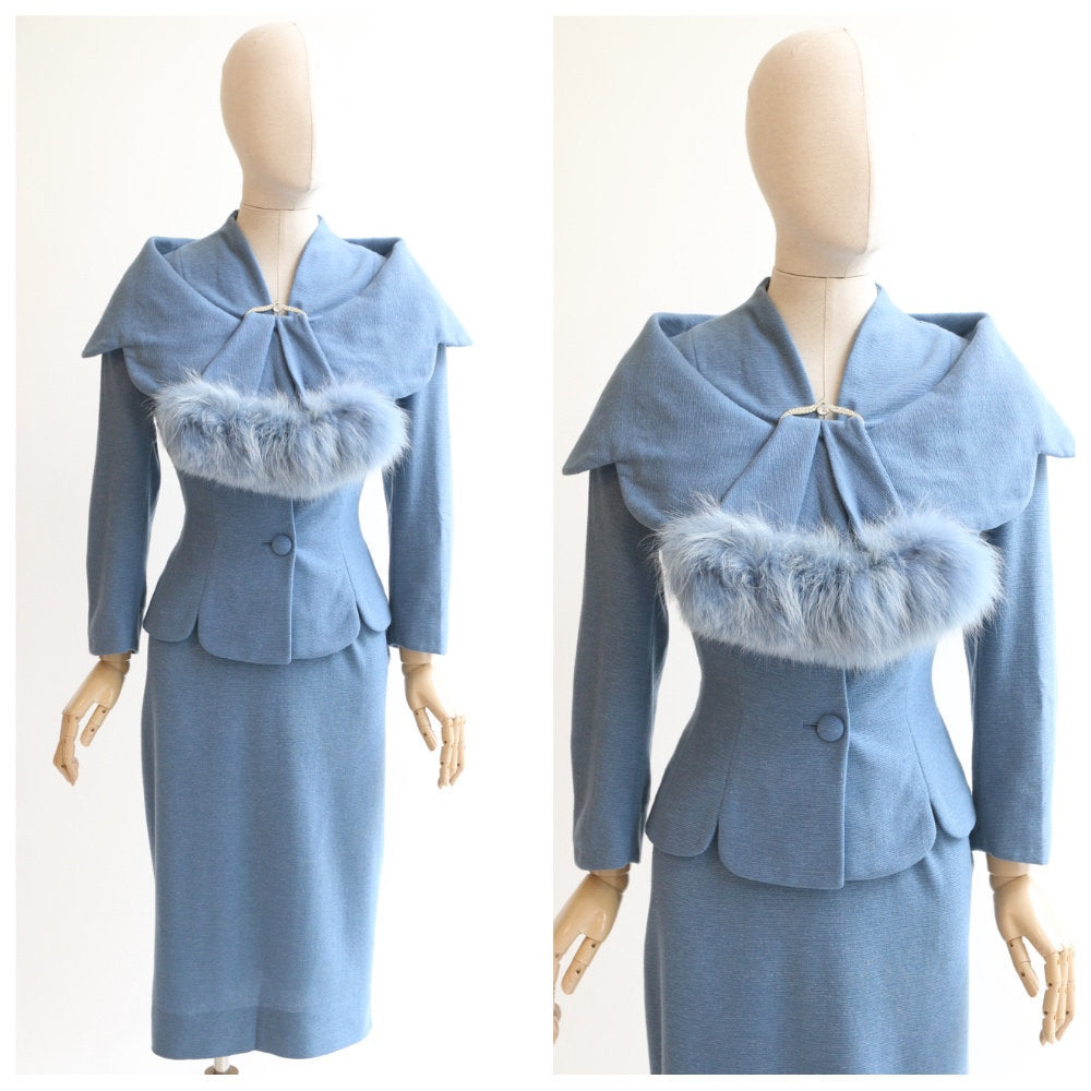 Vintage 1950's Lilli Ann skirt suit original 1950's cornflower blue wool fox fur trim lilli ann san francisco fifties lilli ann UK 8-10