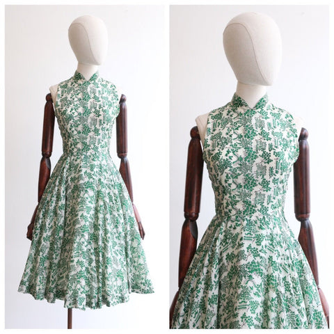 Vintage 1950's dressvintage 1950's silk circle dress original 1950's silk floral Willow pattern dress 1950 mandarin collar dress UK 6-8 US 4