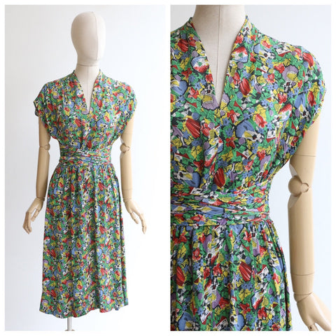 Vintage 1940's dress vintage 1940's novelty print silk dress original forties novelty pattern silk dress tie front Spanish print dress UK 1-