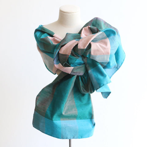 Vintage 1950's silk shawl original 1950's shantung silk shawl 1950's turquoise blue silk shawl 1950's silk wrap original fifties wrap