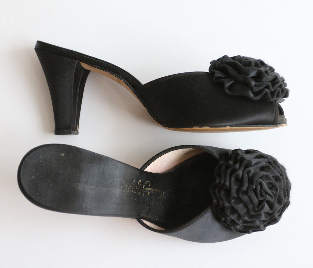 Vintage 1950's black satin slippers 1950's satin mules 1950's satin slippers 1950's boudoir slippers original fifties silk mule boudoir UK 4