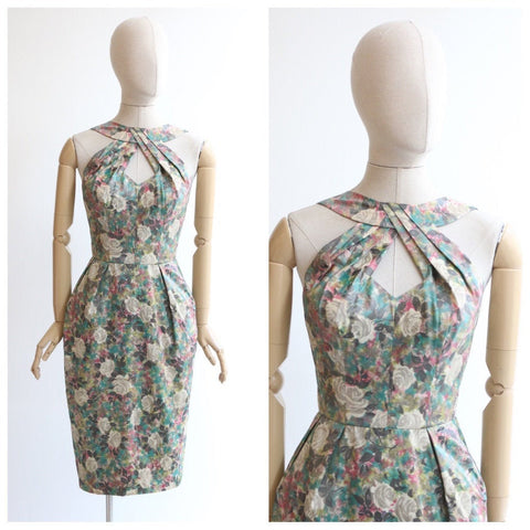 Vintage 1950's dress original 1950's silk floral wiggle dress 1950's keyhole neckline bombshell dress 1950's water-silk floral dress UK 8