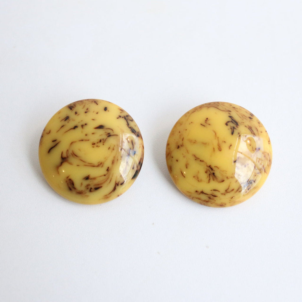 Vintage 1940's bakelite earrings original 1940's butterscotch marbled bakelite clip on earrings 1940's french large bakelite earrings