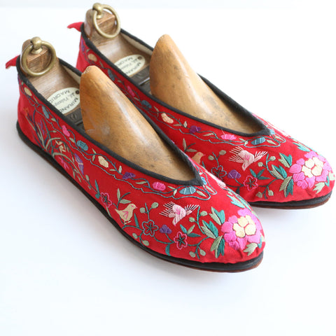 Vintage 1930's slippers vintage 1930's silk embroidered slippers original 1930s Chinese embroidered silk slippers vintage oriental slippers