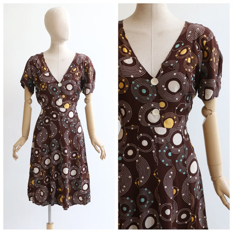 vintage 1940's dress vintage 1940's silk dress original 1940's circle print dress original 1940's orbit forties brown tea dress UK 10-12