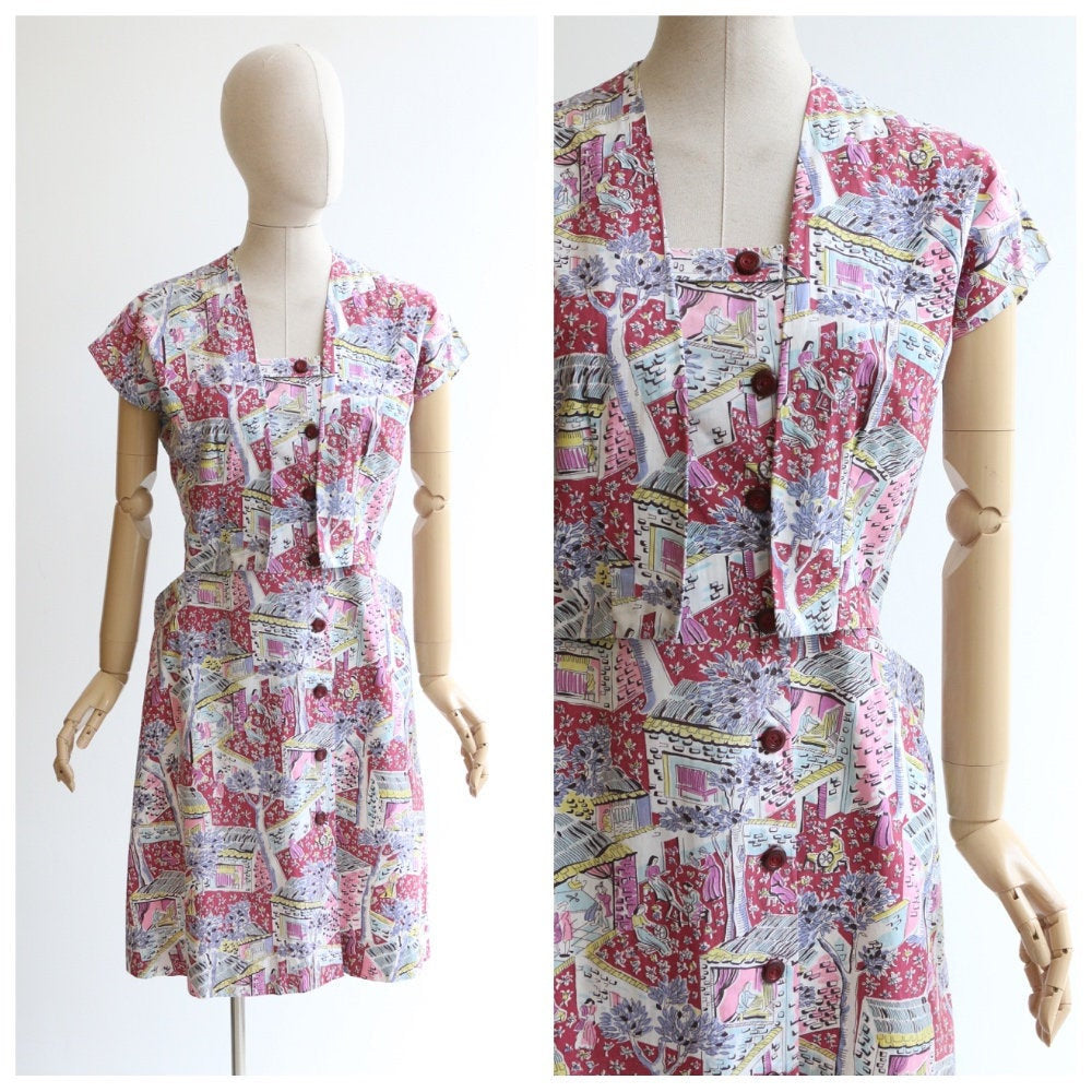 Vintage 1950's dress vintage 1950's novelty dress 1950's novelty print dress 1950s novelty pattern dress 1950's cotton dress bolero 14-16
