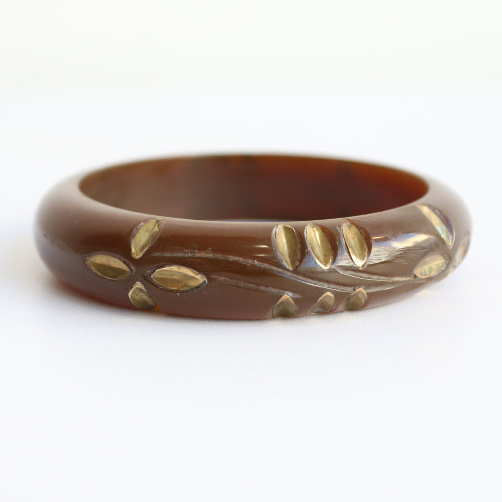 Vintage 1950's bangle vintage 1950's metal inlay bangle original 1950's carved bangle 1950's bracelet floral metal inlay bracelet bangle