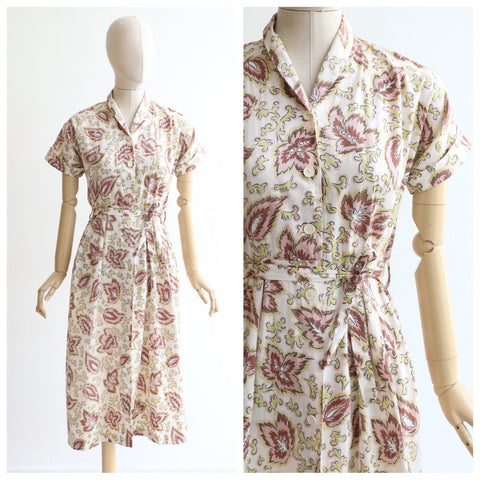 Vintage 1940's dress vintage 1940's floral dress vintage 1940's tea dress original 1940s day dress 1940's linen dress 1940s dress UK 10-12