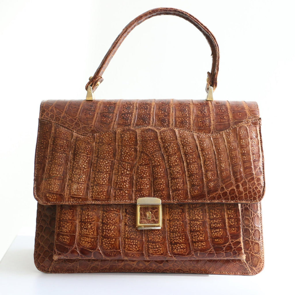 Vintage 1950's crocodile skin handbag original 1950's large crocodile skin handbag original 1950's crocodile kelly bag original 1950s bag