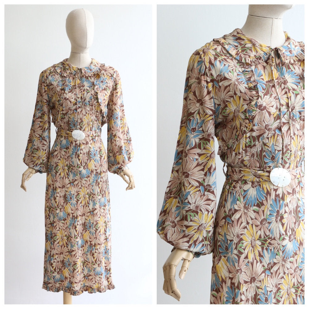 Vintage 1930's silk dress vintage 1930's silk floral dress original 1930 silk floral balloon sleeve dress 1930s bishop sleeve dress UK 10-12