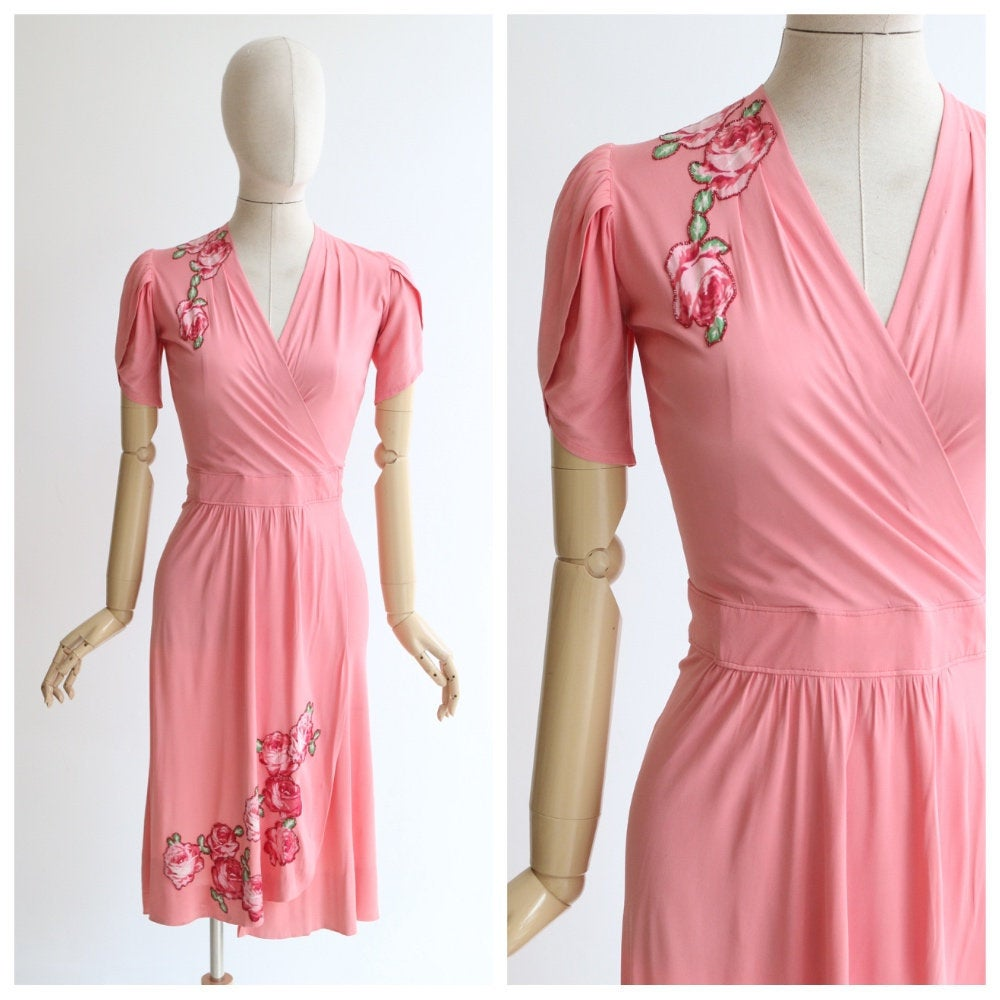 Vintage 1940's dress vintage 1940's pink silk jersey wrap dress original 1940s floral appliqués wrap dress original forties dress UK 8