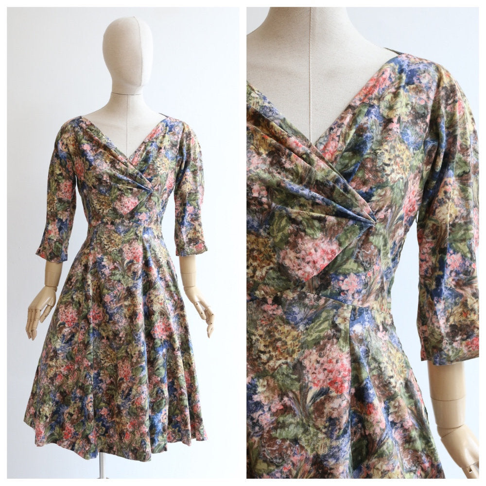 Vintage 1950's dress vintage 1950's floral dress original 1950's rembrandt dress fifties floral dress 1950 cotton dress 50s summer UK 10