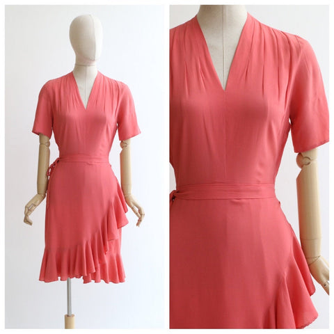 Vintage 1940's Coral Crepe Silk Dress original late 1930's coral pink crepe dress original 1940's ruffle hemline cross over dress 1940s UK 8
