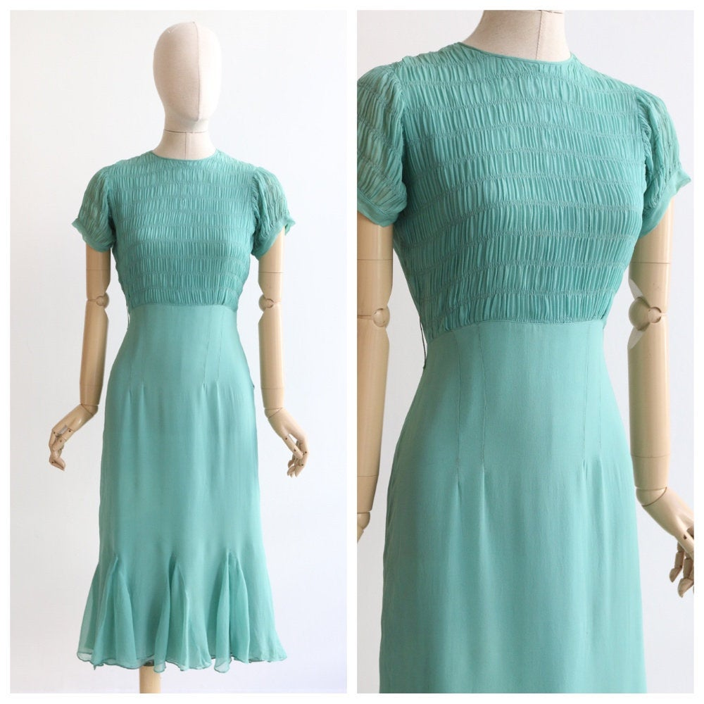 Vintage 1930's dress vintage 1930's eau de nil silk chiffon dress original 1930's smocking dress handkerchief hemline 1930s sea blue UK 8