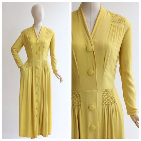 Vintage 1940's Yellow Dress vintage 1940's crepe silk yellow evening dress 1940 yellow silk evening gown original forties yellow dress UK 10