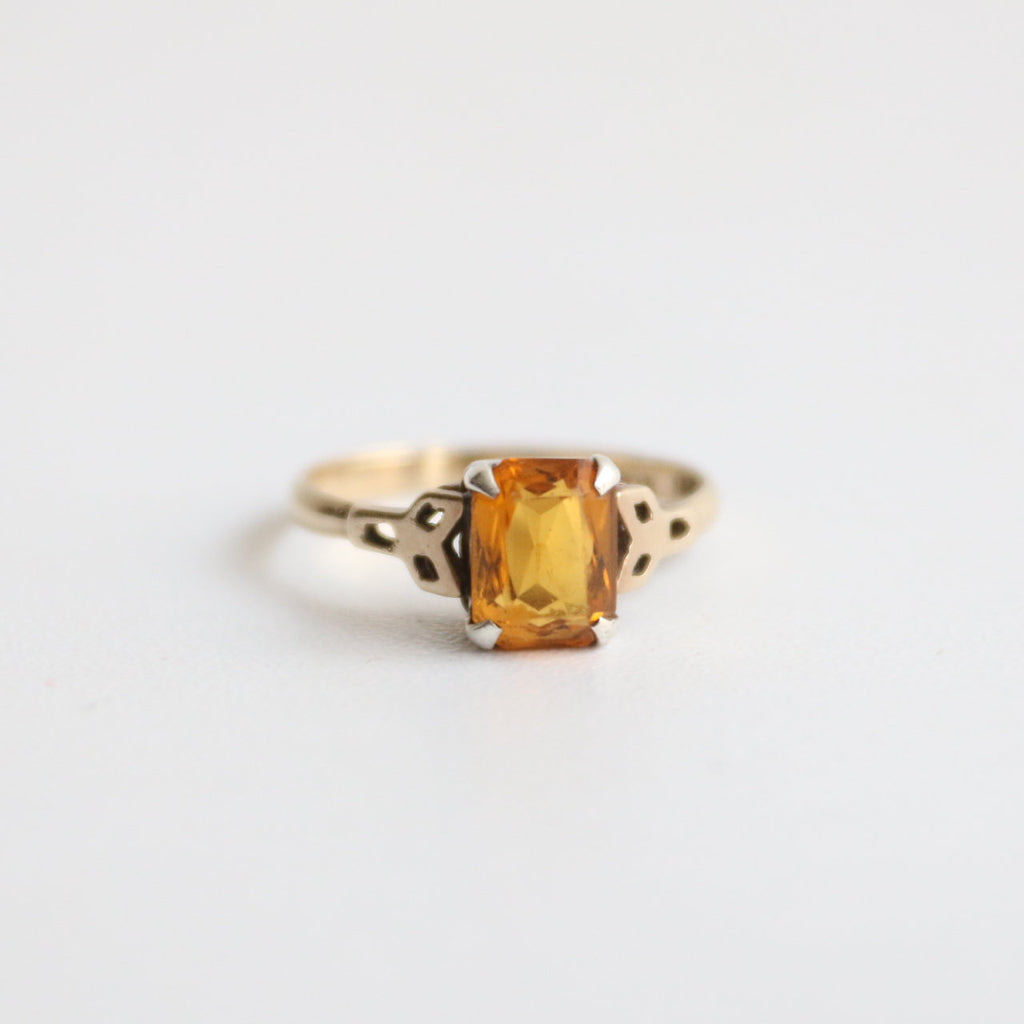 vintage 1950's ring vintage 1950's gold ring original 1950's 9ct gold ring 1950's art deco citrine ring silver and gold citrine stone ring