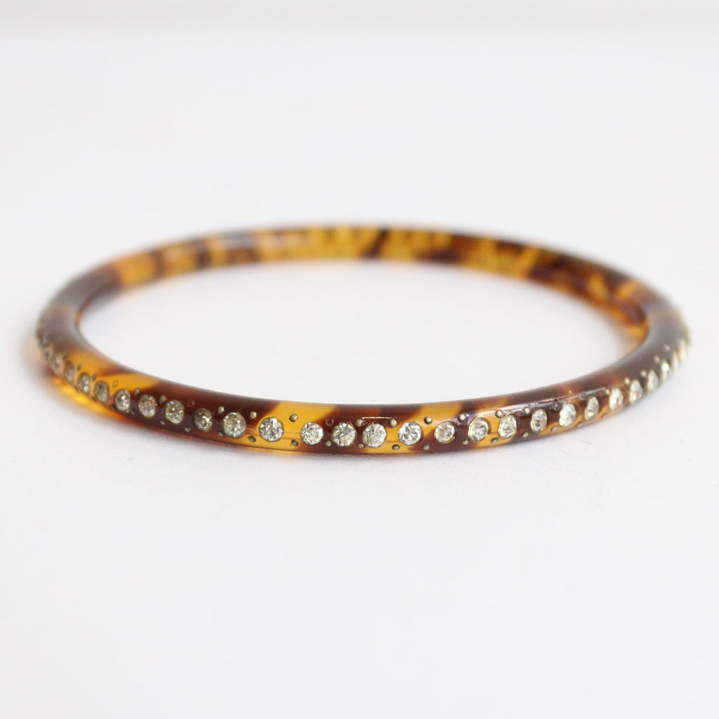 Vintage 1930's bracelet original 1930's rhinestone inlay bracelet 1930's tortoiseshell bangle original 1930's rhinestone bracelet bangle