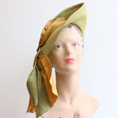 Vintage 1940's hat vintage 1940's straw percher hat original 1940's straw satin ribbon trilby hat 1940s chartreuse green straw summer hat