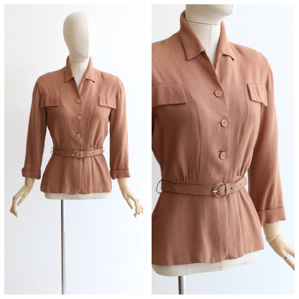 Vintage 1940's CC41 blouse vintage 1940's CC41 linen blouse original forties chocolate moygashel linen jacket original forties CC41 UK 10