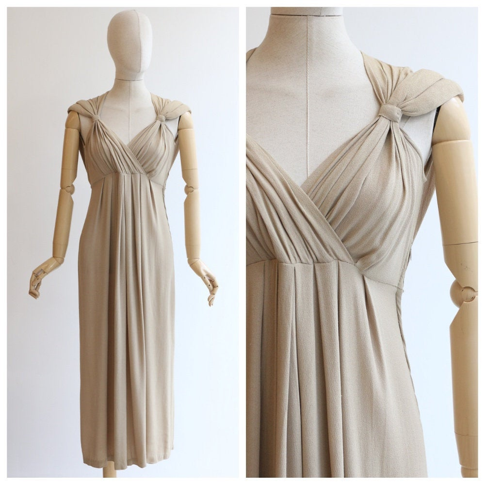 Vintage 1930's dress vintage 1930's Grecian dress vintage 1930's crepe silk dress 1930 fashion art deco dress neutral pleated dress UK 10-12