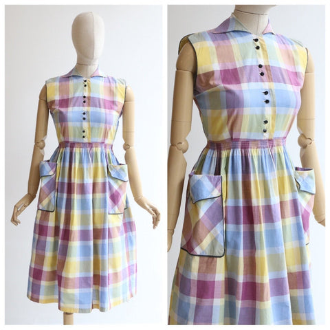Vintage 1950's dress vintage 1950' cotton check print dress 1950's day dress 1950's picnic cotton check pocket dress 1950s pastel dress UK 8