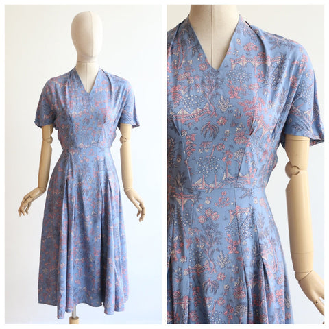 Vintage 1940's dress vintage 1940's silk floral day dress original 1940s chinoiserie dress 940's japanese garden silk dress forties UK 8-10
