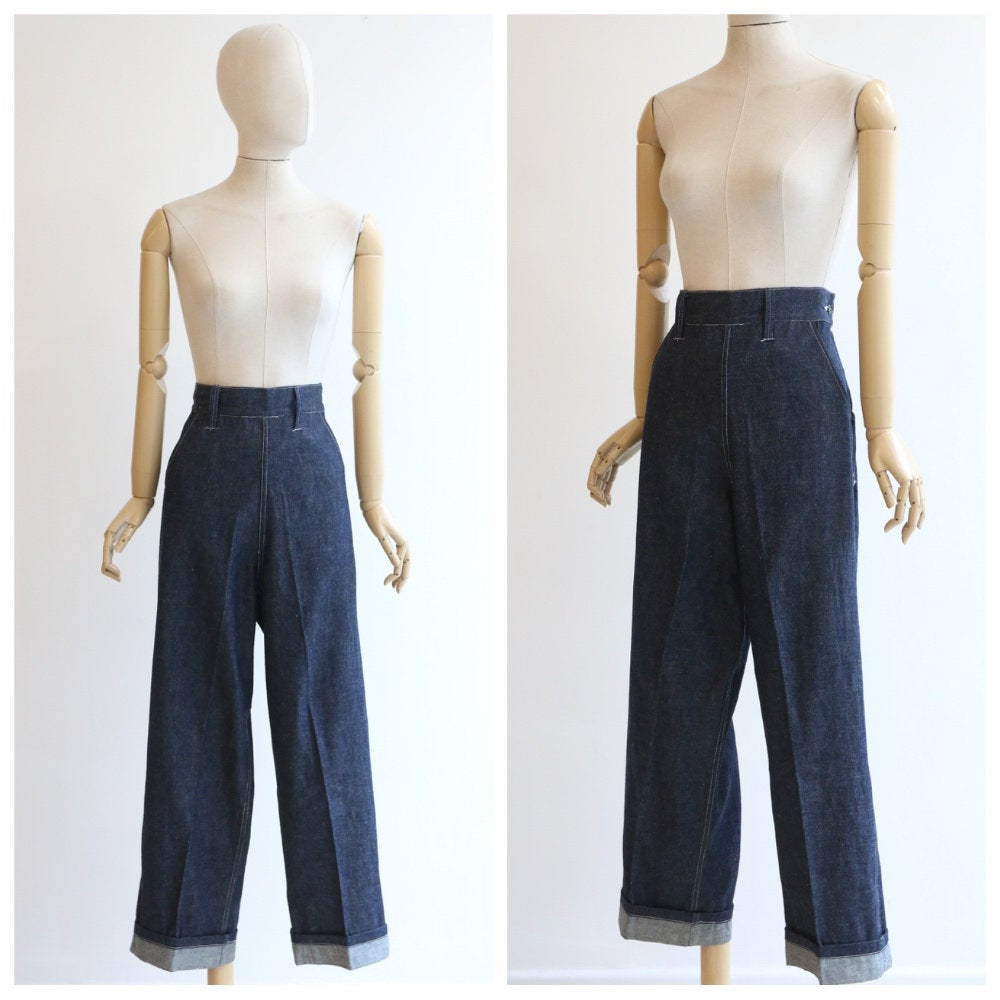 Vintage 1940's Jeans original 1940's CC41 Ladies denim jeans 1940's blue denim high waisted jeans utility mark ration cc41 workwear UK 10