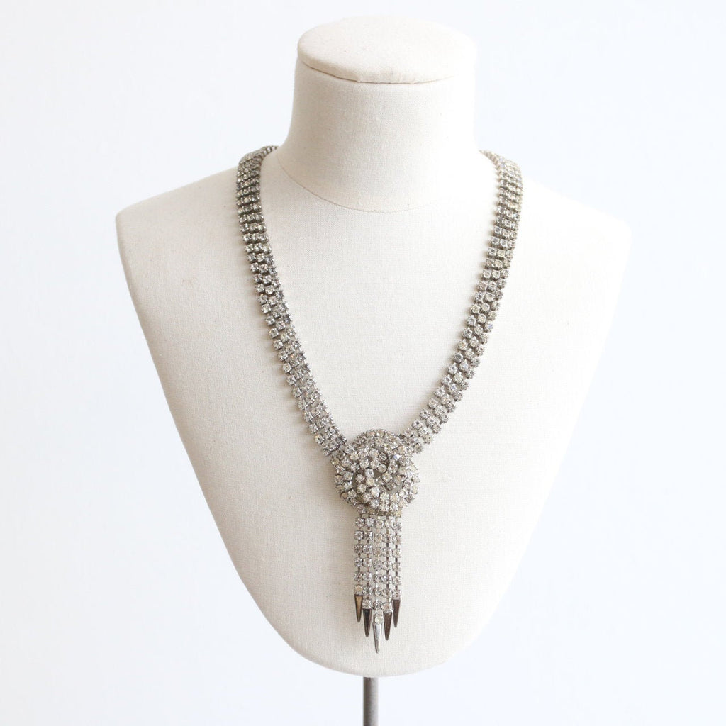 Vintage 1950's necklace vintage 1950's rhinestone necklace original fifties necklace 1950's silver statement rhinestone necklace costume