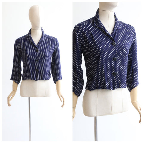 Vintage 1940's blouse vintage 1940's polkadot blouse 1940's navy and white polkadot blouse navy blue brushed cotton blouse 40's UK 12