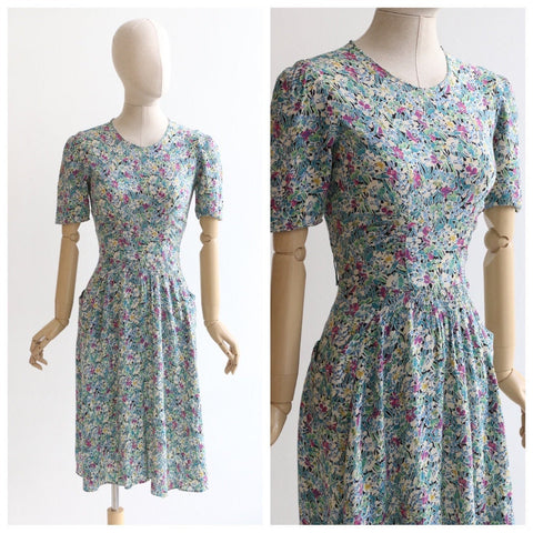 Vintage 1940's dress original 1940's silk dress 1940's floral dress 1940's silk dress 1940s floral print dress wild flower dress silk UK 10