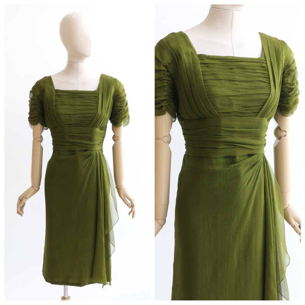 Vintage 1950's dress vintage 195's silk chiffon dress original 1950's green wiggle dress 1950 volup dress 1950's joan mad men dress UK 14-16