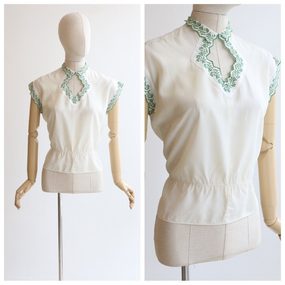 Vintage 1930's blouse vintage 1930's cream rayon blouse green embroidery 1930's embroidered blouse original 1930s blouse UK 12