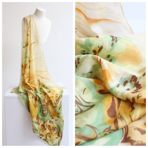 Vintage 1950's scarf vintage 1950's yellow green floral scarf rose print neck scarf 1950's floral scar original fifties rayon floral scarf